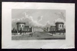 Westall 1830 Antique Print. Entrance to Carlisle from the South